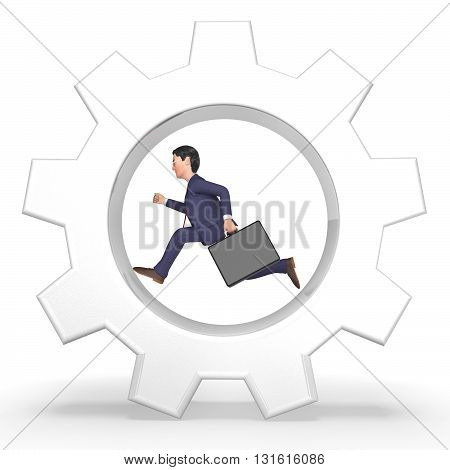 Rat Race Represents Mind Numbing And Businessman 3D Rendering