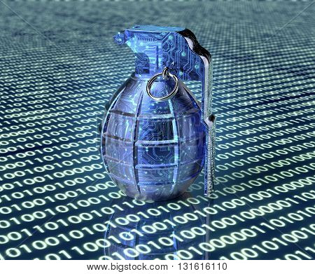 Cyber Terrorism Concept Computer Bomb In Electronic Environment
