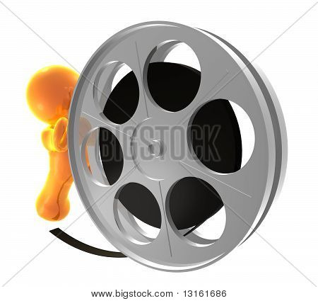 Icon figure pushing a film reel roll