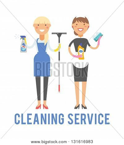 Professional cleaning service in uniforms during work and cleaning service vector characters. Cleaner home equipment worker cleaning service and hygiene interior working occupation cleaning service.
