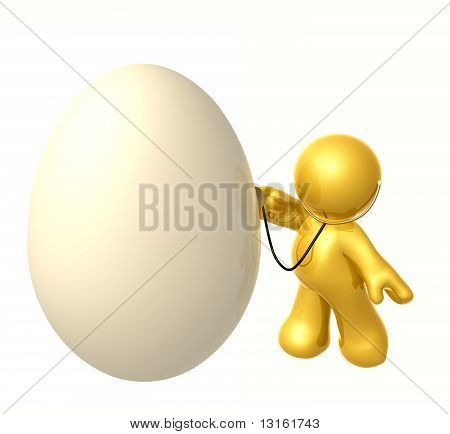 A doctor checking health condition of an egg
