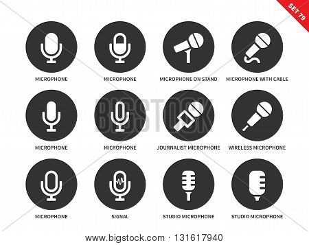 Microphone vector icons set. Sound, speech and media concept. Journalist equipment, different microphones, signal, studio microphone. Isolated on white background
