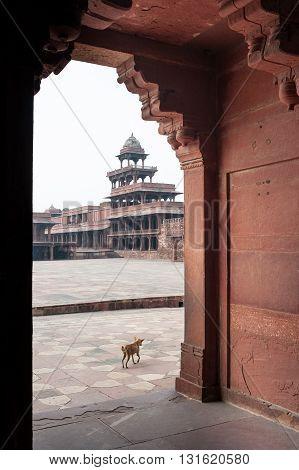 Panch Mahal view through a door Fatehpur Sikri India