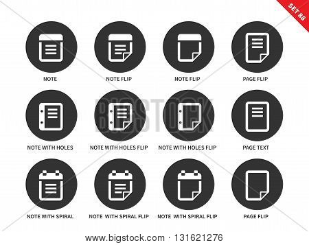 Notepad and sticky notes vector icons set. Notification and reminding concept. Office tools and items, notes, note flip, note with holes, page, text, note with spiral. Isolated on white background