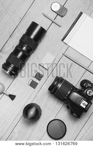 Photographer equipment flat lay Black and White colors