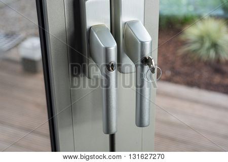 Locks at glass doors to the garden as defense for break-in
