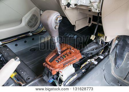 Car interior. Repair a gear shift and knob gear shift removing