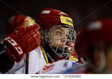 PARDUBICE 23/01/2015 _ Seventeen year old youngster's of Ocelari Trinec Lukas Jasek (*1997) has been pushed to extraleague squad and youth representation. Drafted 2015 to Vancouver Canucks.
