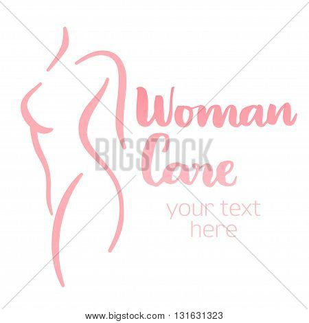 Woman body care silhouette. Isolated hand-drawn illustration with brush lettering text - Woman care. Good for web and print projects.