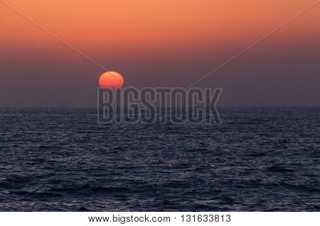 view on sunset from coast of Arabian gulf