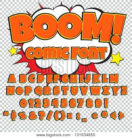 Comic orange alphabet set. Letters, numbers and figures for kids' illustrations websites comics banners.