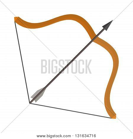 Bow and arrows classic isolated on white. Bow and arrows archery sign feather target vector weapon. Bow and arrows hunt sport shoot aiming direction. Traditional vintage sharp and hunter arrowhead.