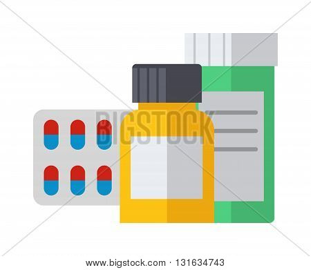 Pills spilling out pill bottle isolated. Pills isolated vector medical tablet and healthy vitamin antibiotic pills isolated. Pills isolated prescription pain care pharmaceutical addiction narcotic.