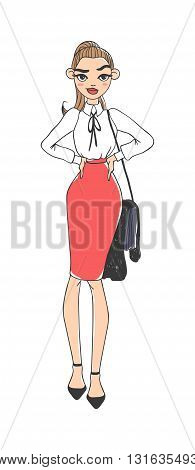 Portrait of elegantly dressed young gorgeous brunette woman business lady. Business lady vector sketch and business lady cartoon character. Business lady beautiful female girl businesswoman.
