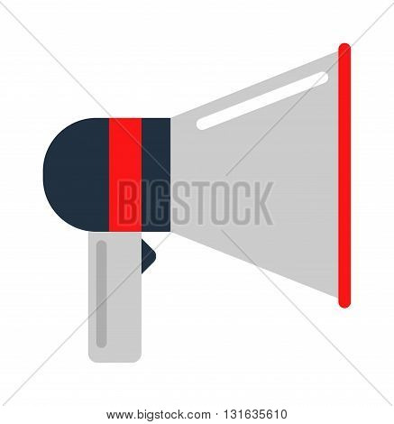 Flat vector icon of megaphone for social media marketing concept. Megaphone icon announcement sound and speech bullhorn megaphone icon. Megaphone icon message communication loudspeaker.