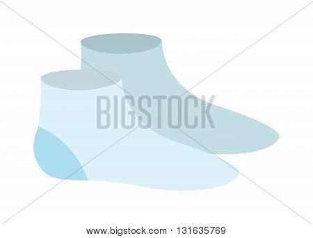 Multicolored blue pair of socks flat cartoon vector style. Cartoon socks isolated. Cartoon socks vector. Cartoon socks icons. Socks isolated