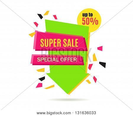 Super Sale Arrow Banner Design. Vector Sale Illustration for Promotional brochure booklet poster shopping flyer discount banner.