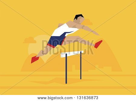 Illustration Of Male Athlete Competing In Hurdles Race