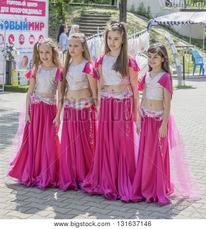 Rostov-on-Don Russia- May 22, 2016: Children's dance group in the park named after V. Cherevichkin