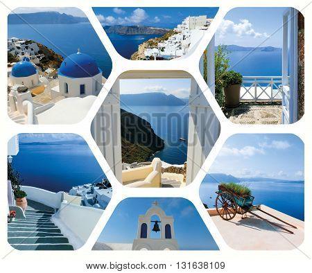 The set of summer photos in Santorini island, Greece