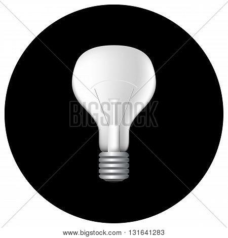 Realistic filament light bulb on black vector illustration