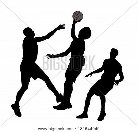 Three basketball players in action. In EPS vector file all players are separated.