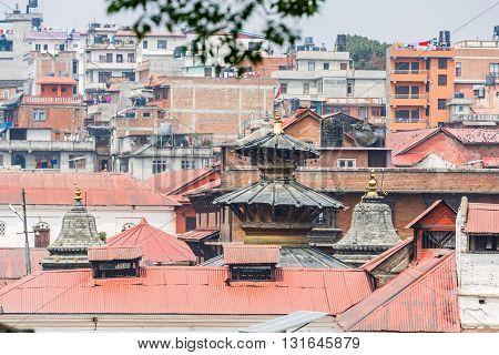 Cityscape of Kathmandu and Pashupatinath sacred place from afar