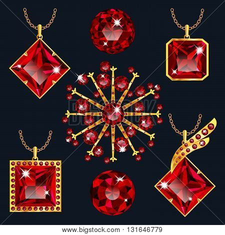 Set of realistic red jewels. Colorful red gemstones. Red rubies pendants isolated on gray background. Princess cut jewel. Round cut jewel. Emerald cut jewel. Oval cut jewel. Pear jewel . Heart jewel.
