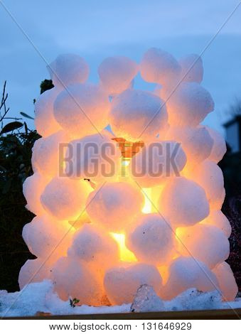 Snowball igloo covered grave light - closeup