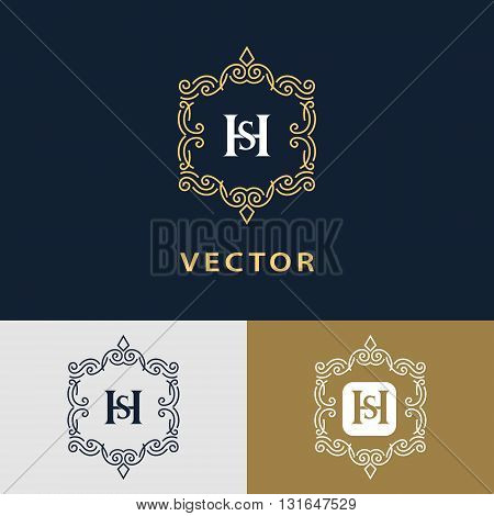 Vector illustration of Line graphics monogram. Elegant art logo design. Letter SH. Graceful template. Business sign identity for Restaurant Royalty Boutique Cafe Hotel Heraldic Jewelry Fashion. Vector elements poster