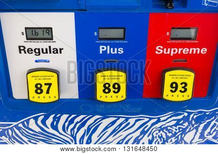 Rock Hill, SC - 01-25-2016: Gas grade at the fuel pump close up with extremely low price
