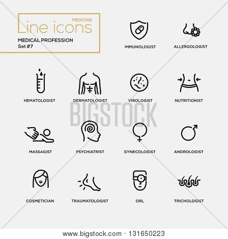 Medical profession simple thin line design icons, pictograms set. Immunologist, dermatologist poster