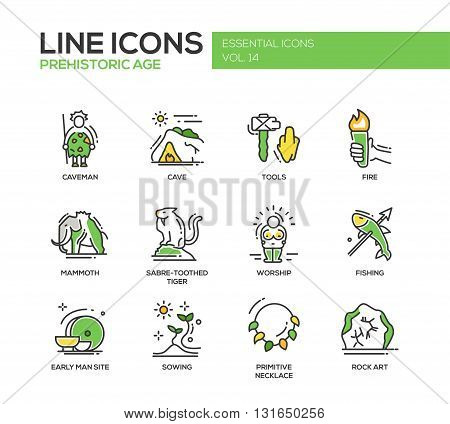 Set of modern vector line design icons and pictograms of pregistoric age life. Caveman, cave, tools, fire, fire, mammoth, sabre-toothed tiger, worship, fishing, early man site, sowing, rock art