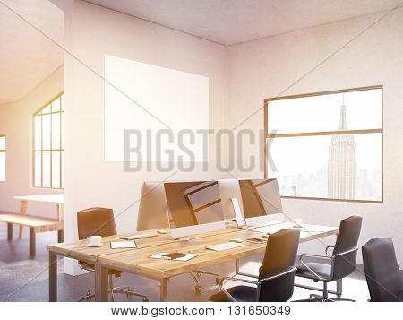 Coworking Office Interior With Banner