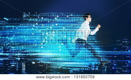 Success concept with running businessman and digital code trail on blur city background