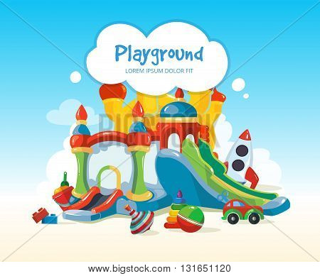 Vector illustration of inflatable castles and children hills on playground. Set of children toys on playground