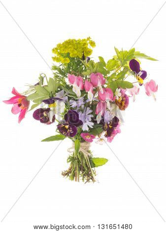 many bright beautiful varietal unusual multicolored flowers in spring beautiful bouquet bound a linen rope isolated on a white background