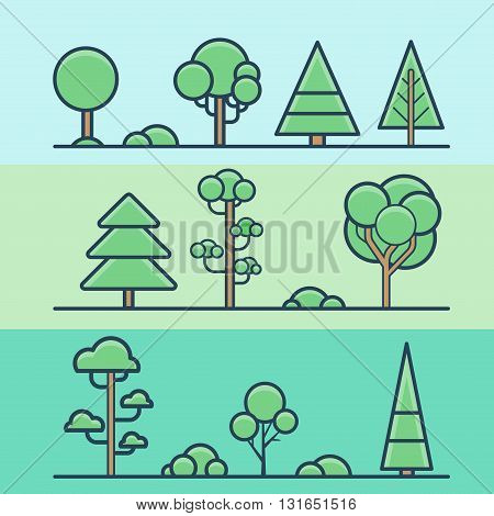 Tree bush park forest geometric colorful nature set. Linear stroke outline flat style vector icons. Color lineart icon collection.
