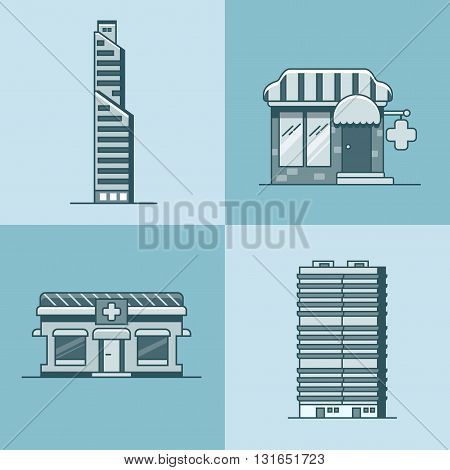 City town skyscraper house hospital pharmacy drug store architecture building set. Linear stroke outline flat style vector icons. Color linear icon collection.