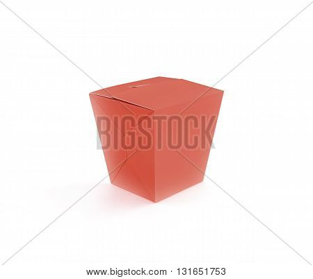 Closed red blank fast food box mockup stand isolated 3d rendering. Empty clear noodle carton box mock up. Take away chicken paper bag template. Meal container fries packaging. Nuggets wings wok.