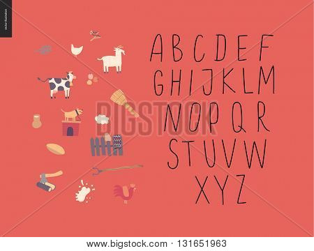 Vector handwritten latin alphabet on the red background with rural elements