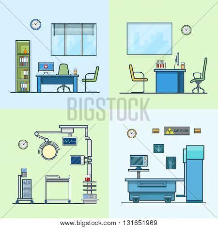 Hospital clinic medical medicine dispensary lab operation room x-ray roentgen doctor cabinet interior indoor set. Linear stroke outline flat style vector icons. Color icon collection.