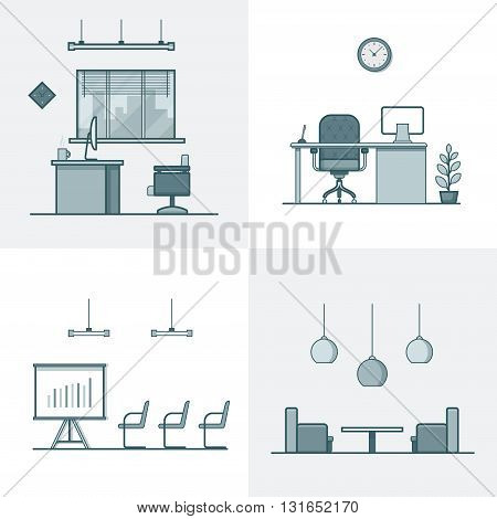 Office meeting conference room table chair armchair night dance club interior indoor set. Linear stroke outline flat style vector icons. Monochrome icon collection.