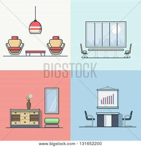 Office meeting conference room table chair armchair night dance club living room interior indoor set. Linear stroke outline flat style vector icons. Color icon collection.