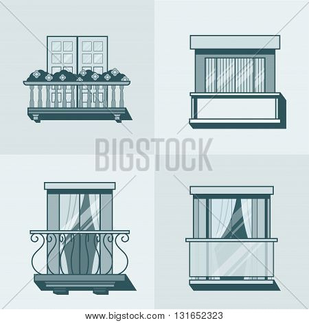 Balcony linear outline architecture building element set. Linear stroke outline flat style vector icons. Monochrome monochromatic icon collection.