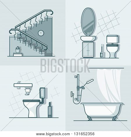 Bathroom toilet ladder interior indoor element furniture set. Linear stroke outline flat style vector icons. Monochrome line art icon collection.