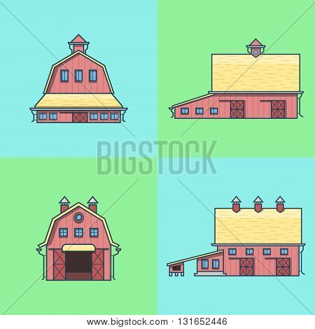 Farm rancho barn store house warehouse granary hangar architecture building set. Linear stroke outline flat style vector icons. Color icon collection.