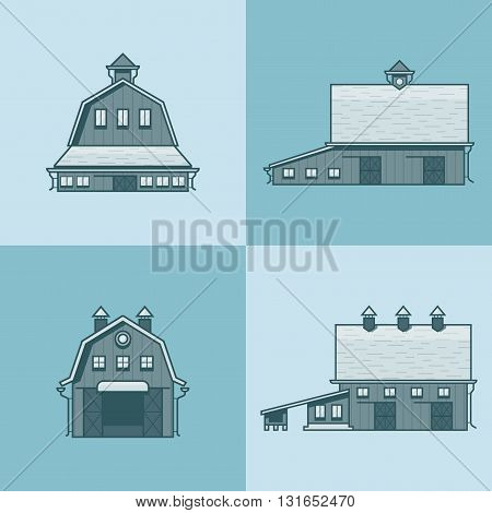 Farm rancho barn store house warehouse granary hangar architecture building set. Linear stroke outline flat style vector icons. Monochrome icon collection.