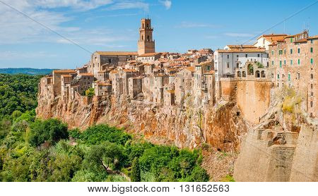 Landscape old town Pitigliano in Tuscany, Italy