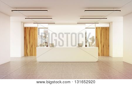 Office lobby interior with reception desk concrete floor wall wooden doors and city view. 3D Rendering